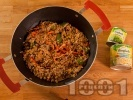 Рецепта Ориз по китайски със зеленчуци, гъби шийтаке, кълнове и грах